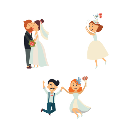 Funny wedding couple, kissing and jumping, bride throwing flowers, flat cartoon vector illustration isolated in white background. Funny comicbwedding couple, hugging and kissing, throwing flowers