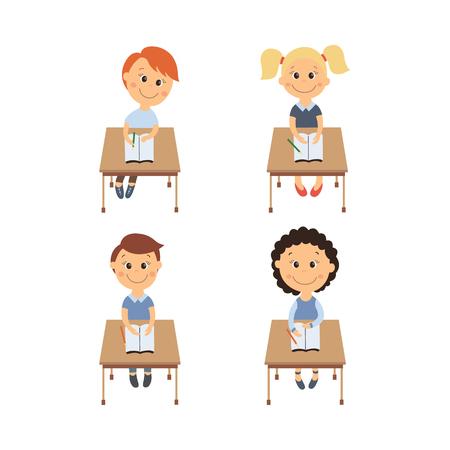 personaggio simpatico cartone animato di vettore piatto cartone animato seduto alla scrivania nel set di scuola elementare sorridente. Illustrazione isolato su uno sfondo bianco. Educazione dei bambini, di nuovo al concetto di scuola