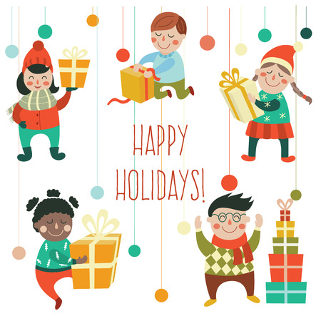 Set of kids, children holding, opening, getting Christmas, New Year presents, gifts, flat cartoon vector illustration isolated on white background. Kids, boys, girls, with Christmas New Year presents Stock fotó - 87535529