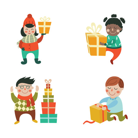 vector kids with christmas present gift set. Boy sitting at knees opening box, another made pyramid, black girl with gift dancing smiling another one stays. Flat illustration on a white background.
