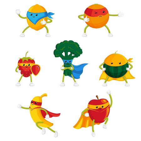 Funny frutas y bayas héroe, personajes de superhéroes en capas y máscaras, conjunto de ilustraciones de vectores de dibujos animados de estilo plano aislado sobre fondo blanco. Funny fruit and berry hero, superhero characters Foto de archivo - 87535531