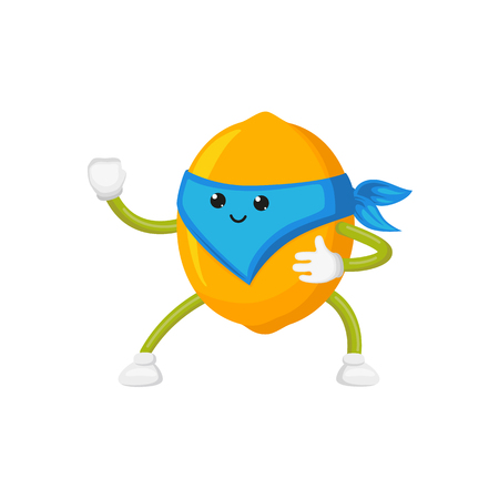 vector flat cartoon lemon character in blue mask standing like ninja. Isolated illustration on a white background. Funny humanized fruit and vegetable super hero protecting people health Illustration