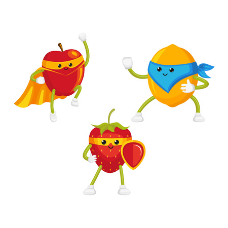 vector flat cartoon funny fruit, berry character in masks set. Lemon standing like ninja, strawberry keeps shield in hand, apple flying like superhero. Isolated illustration on a white background.