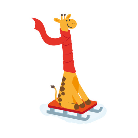 vector flat cartoon giraffe character sledding smiling wearing red scarf. Winter animal outdoor games, activities concept. Isolated illustrationo on a white background
