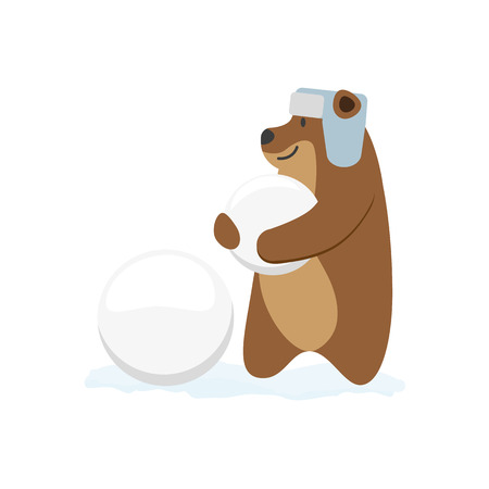 vector flat cartoon brown bear character making ice balls smiling wearing earflap hat. Winter animal outdoor games, activities concept. Isolated illustrationo on a white background Illustration