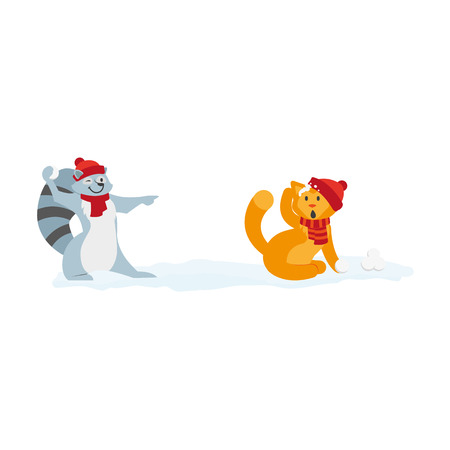 vector flat cartoon cat and raccoon characters playing ice balls smiling wearing scarf, hat. Winter animal outdoor games, activities concept. Isolated illustrationo on a white background Illustration