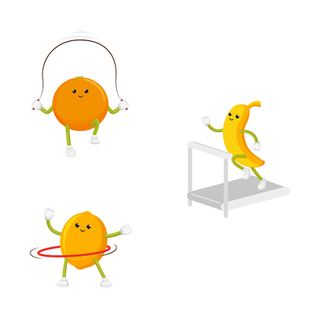 hula hoop: vector flat cartoon funny fruit sport characters set. Cheerful humanized banana, orange, lemon makes exercises with hula hoop, jumping rope, treadmill. Isolated illustration on a white background. Illustration