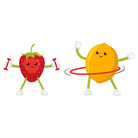 Funny lemon and strawberry training with weights and twirling a hoop, flat cartoon vector illustration isolated on white background. Funny fruit characters - apple and lemon, doing sport Illustration