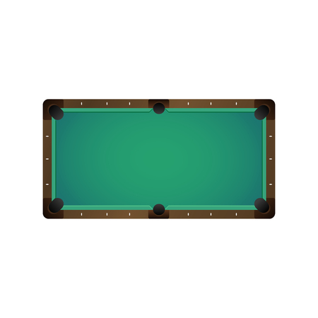 vector flat cartoon billiard pool, snooker felt empty green table top view. Isolated illustration on a white background. Playground for cue sport competitions for your design.