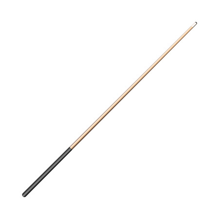 vector flat cartoon style wooden cue with black handle. Isolated illustration on a white background. Professional snooker, pool billiard equipment, instrument for your design. Illustration