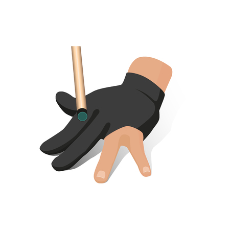 vector flat cartoon style hand in pose in special billiard pool glove with cue stick ready to make shot to a ball. Isolated illustration on a white background. Illustration