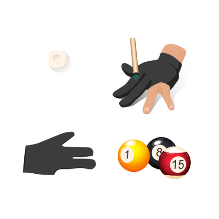 cue ball: vector flat cartoon billiard snooker, pool equipment objects set. cue chalk block ,hand in glove, colored balls with numbers. Isolated illustration on a white background. Illustration