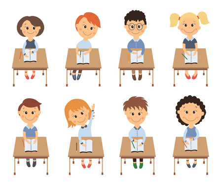 Cute elementary school kids in classroom sitting at lesson, flat cartoon vector illustration isolated on white background. Kids in classroom, students of elementary, primary school