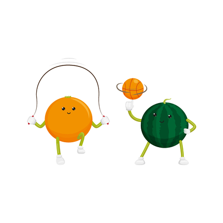 vector flat cartoon funny fruit sport characters set. Cheerful humanized orange, watermelon makes exercises with hoop, basketball ball. Isolated illustration on a white background.