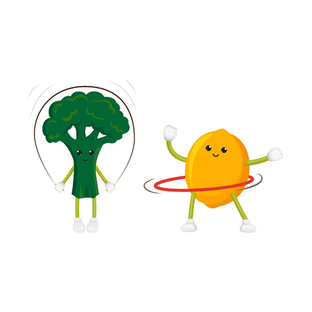 hula hoop: vector flat cartoon funny fruit, vegetable sport characters set. Cheerful humanized lemon, broccoli makes exercises with hoop, jumping rope. Isolated illustration on a white background. Illustration
