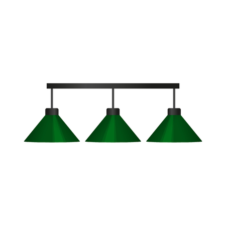 vector flat cartoon green billiard pendant lamp. Isolated illustration on a white background. Professional snooker, pool billiard equipment, furniture for your design. Иллюстрация