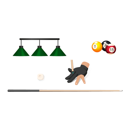 vector flat cartoon billiard snooker, pool equipment objects set. cue stick, pendant lamps, hand in glove, ball with numbers. Isolated illustration on a white background. Illustration