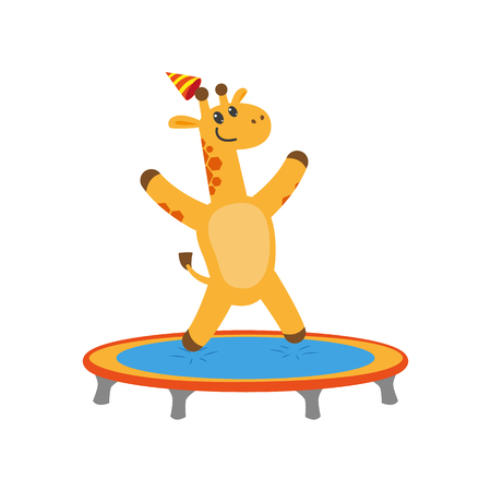 baby playing toy: vector flat cartoon cheerful giraffe character jumping on trampoline wearing party hat happily smiling. isolated illustration on a white background. Animals party concept Illustration