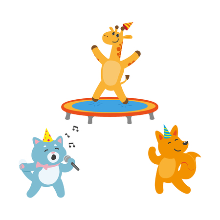 baby playing toy: vector flat cartoon cheerful animals character happily smiling in paty hat set. giraffe jumping on trampoline, car singing with microphone, fox dancing . isolated illustration on a white background. Illustration