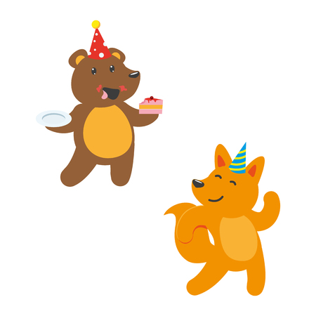vector flat cartoon cheerful animals character happily smiling in paty hat set. brown bear eating piece of cake, red fox dancing . isolated illustration on a white background.