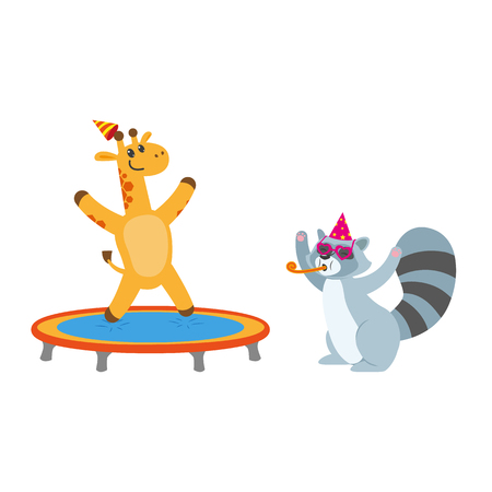 baby playing toy: vector flat cartoon cheerful animals character happily smiling in paty hat set. giraffe jumping on trampoline, raccoon having fun whistling . isolated illustration on a white background.