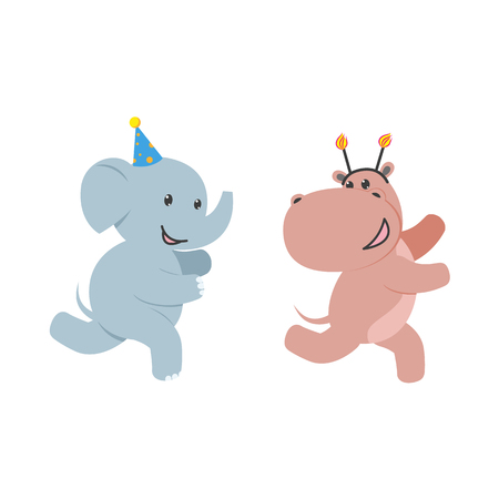 big foot: vector flat cartoon cheerful elephant, hippo kid character having fun running wearing party hat happily smiling. isolated illustration on a white background. Animals party concept