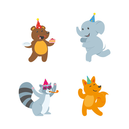 art piece: vector flat cartoon cheerful animals character happily smiling in paty hat set. bear eating piece of cake, fox dancing, raccoon whistling, elephant running. Isolated illustration on a white background Illustration