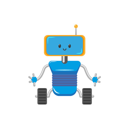 vector flat cartoon funny friendly robot. Humanoid male character with rollers or wheels - legs, arms antenna in head smiling. Isolated illustration on a white background. Childish futuristic.