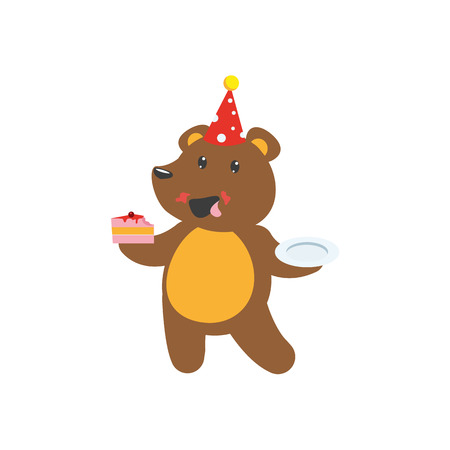 art piece: vector flat cartoon cheerful brown bear character eating piece of cake wearing party hat happily smiling. isolated illustration on a white background. Animals party concept