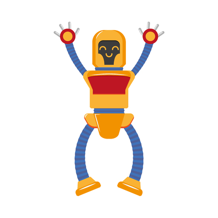 vector flat funny friendly robot set. Humanoid male character with arms, legs want to give a hug. Isolated illustration on a white background. Childish futuristic.