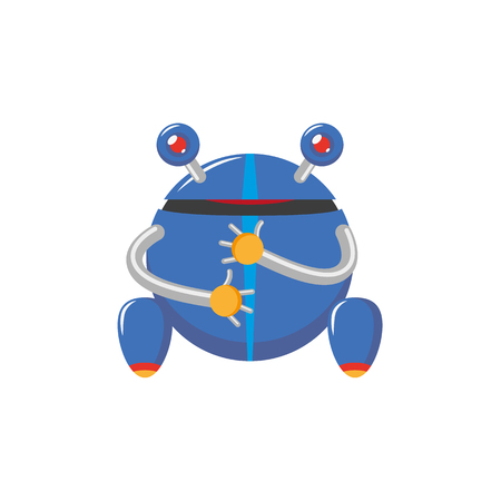 vector flat cartoon funny friendly robot. Frog-like character with rollers or wheels - legs, arms , two antennas - ears. Isolated illustration on a white background. Childish futuristic.