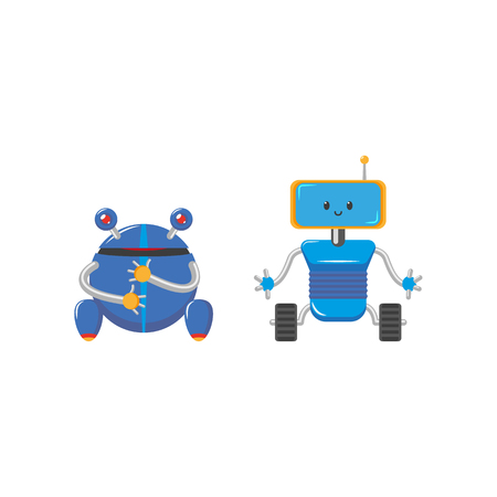 vector flat cartoon funny friendly blue robots with legs - rollers, arms antennas set. Isolated illustration on a white background. Childish futuristic.
