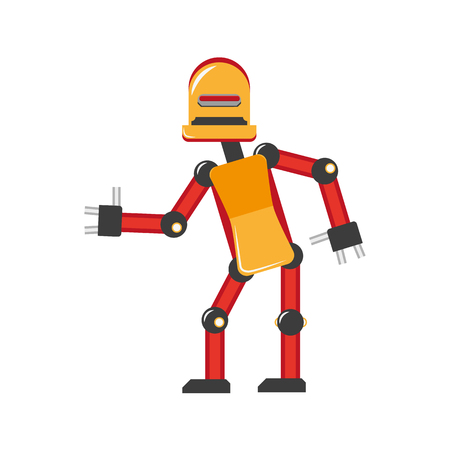 vector flat funny friendly robot. Humanoid male character with arms, legs wants to give handshake smiling. Isolated illustration on a white background. Childish futuristic.