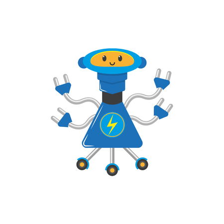 vector flat cartoon funny electro charging robot. Humanoid male character with roller - legs, arms electric plugs smiling. Isolated illustration on a white background. Childish futuristic.