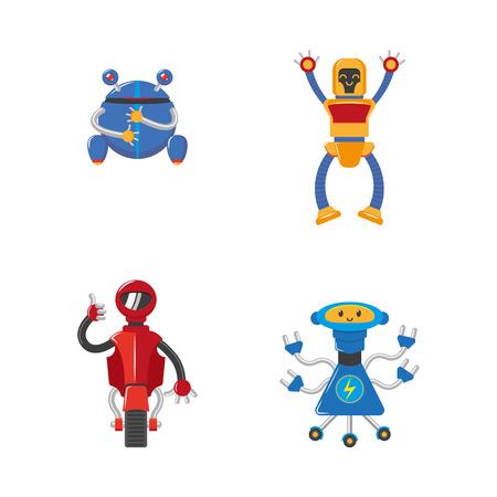벡터 플랫 재미 친절한 로봇을 설정합니다. 팔, 다리, 바퀴 또는 롤러 및 안테나 인간의 남성 문자. 흰색 배경에 고립 된 그림입니다. 일러스트