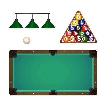 フラット漫画・ ビリヤード ・ スヌーカーをベクトル、プール機器オブジェクトのセット。色の木製ラックの三角形でボール ピラミッド ペンダント