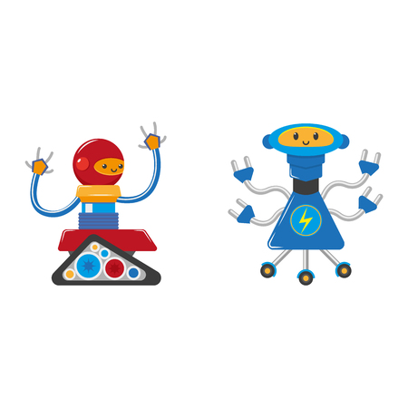 vector flat funny friendly robots set. Humanoid male characters without legs, with arms ,wheels or rollers and antennas . Isolated illustration on a white background. Illustration