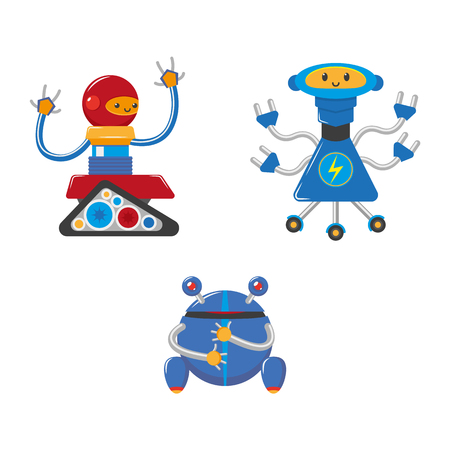 vector flat funny friendly robots set. Humanoid male characters without legs, with arms ,wheels or rollers and antennas . Isolated illustration on a white background. Ilustracja