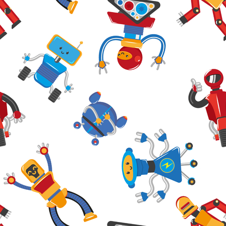 vector flat funny friendly robots seamless pattern. Humanoid male characters with arms, legs, wheels or rollers and antennas . Isolated illustration on a white background.