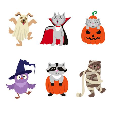재미있는 동물 캐릭터의 집합 할로윈 의상, 평면 만화 벡터 일러스트 레이 션 흰색 배경에 고립에서 설정합니다. 유령, 마녀, 엄마, 뱀파이어 할로윈 의 일러스트