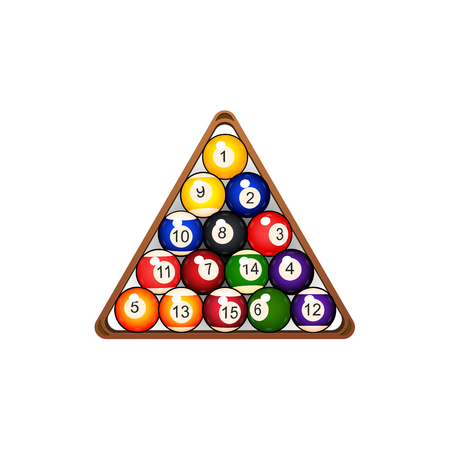 vector flat colored balls with numbers pyramid in wooden rack triangle. Isolated illustration on a white background. Professional snooker set, pool billiard equipment, instrument for your design. Illusztráció