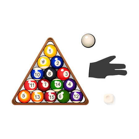Set of billiard, snooker objects – fifteen balls in triangle rack, cue chalk and pool glove, vector illustration isolated on white background. Vector set of pool, billiard, snooker game objects