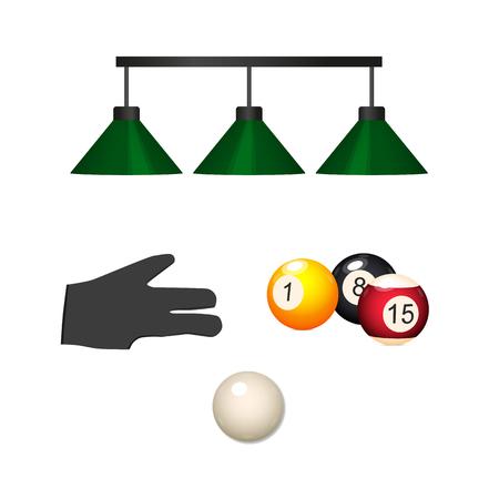Vector de dibujos animados billar snooker, conjunto de objetos de equipo de la piscina. señal bola blanca, lámparas colgantes, mano en guante, bolas de colores con números. Ilustración aislada en un fondo blanco. Foto de archivo - 87535619