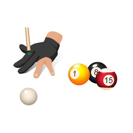 Insieme di biliardo, oggetti dello snooker - palle e mano nel guanto dello stagno che tende un'indicazione, illustrazione di vettore isolata su fondo bianco. Insieme di vettore di piscina, biliardo, oggetti di gioco di biliardo Archivio Fotografico - 87535620