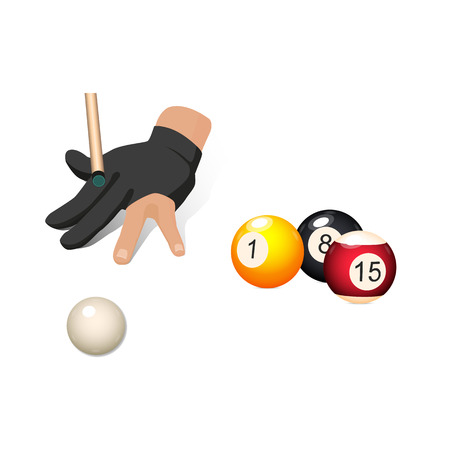 Set of billiard, snooker objects � balls and hand in pool glove aiming a cue, vector illustration isolated on white background. Vector set of pool, billiard, snooker game objects