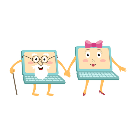 Couple of cartoon laptop computer characters, young and old, vector illustration isolated on white background. Two cartoon laptop computer characters, one young female, another old male with cane