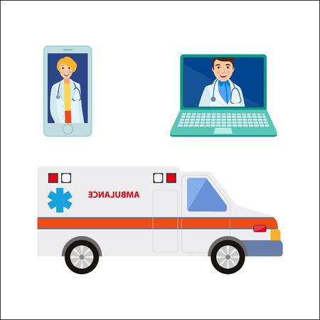ベクトル フラット漫画男性、女性医師は、スマート フォン、ラップトップ画面 m 救急車で医療服アバターで医師を設定します。白い背景に分離の図