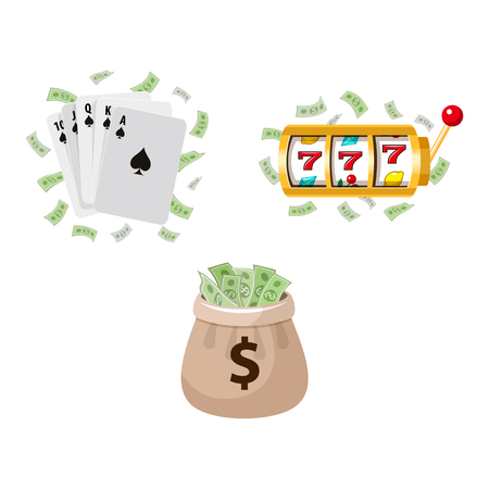 Gambling symbols - slot machine, playing cards and jackpot money bag, vector illustration isolated on white background. Slot machine display, playing cards, jackpot money, gambling, casino concept Illustration