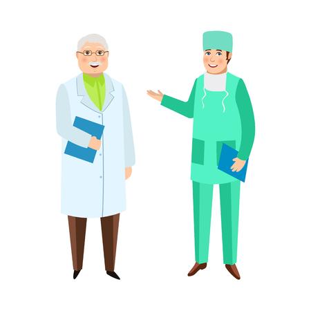 2 人の男性医師、セラピストと外科医、医療スタッフ、病院の従業員、白い背景で隔離のフラット漫画ベクトル図。白のガウンと医療衣類及び履物で