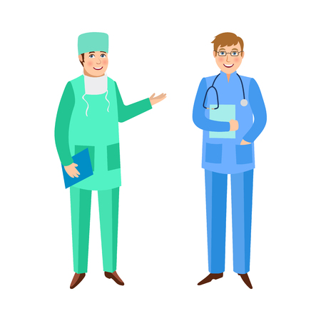 trainee: Two male doctors, surgeon and therapist, in medical overalls, hospital staff, flat cartoon vector illustration isolated on white background. Flat cartoon doctors in medical overalls